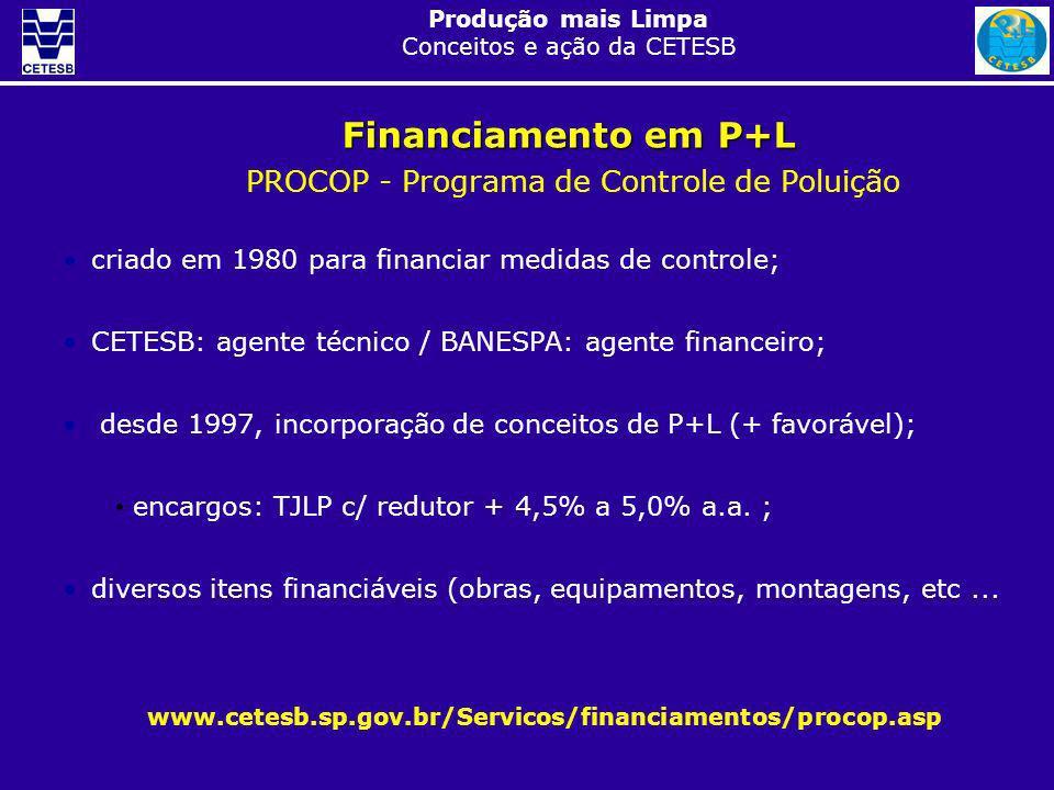 Produção mais Limpa Conceitos e ação da CETESB Financiamento em P+L PROCOP - Programa de Controle de Poluição www.cetesb.sp.gov.br/Servicos/financiame