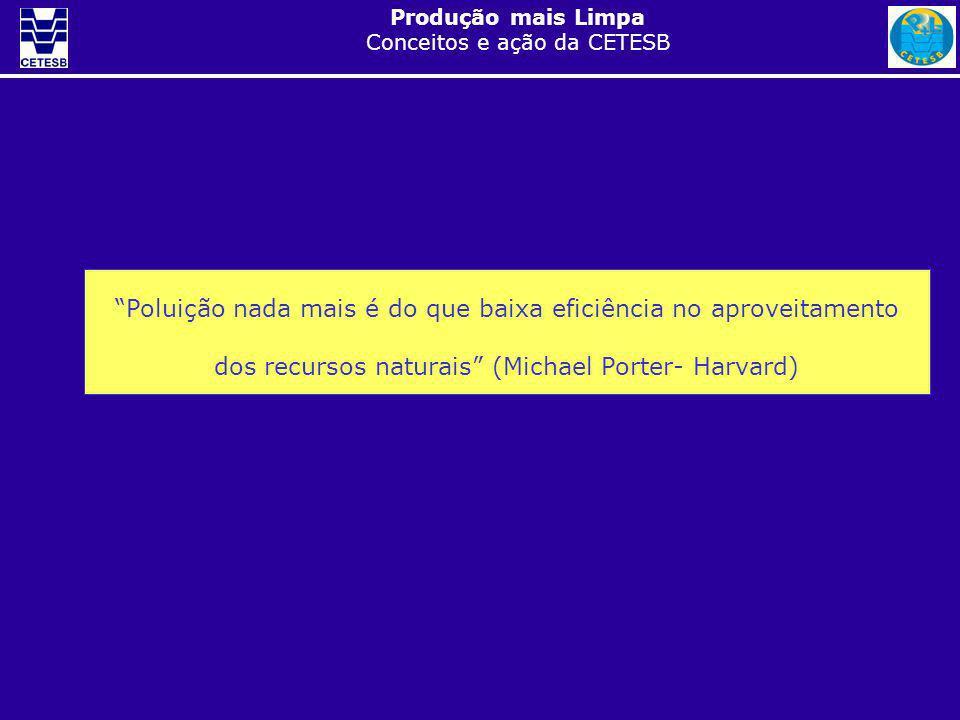 Produção mais Limpa Conceitos e ação da CETESB Poluição nada mais é do que baixa eficiência no aproveitamento dos recursos naturais (Michael Porter- H