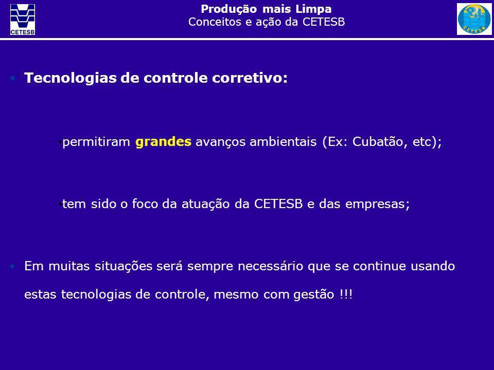 Produção mais Limpa Conceitos e ação da CETESB No entanto, modelo de controle corretivo: 1.