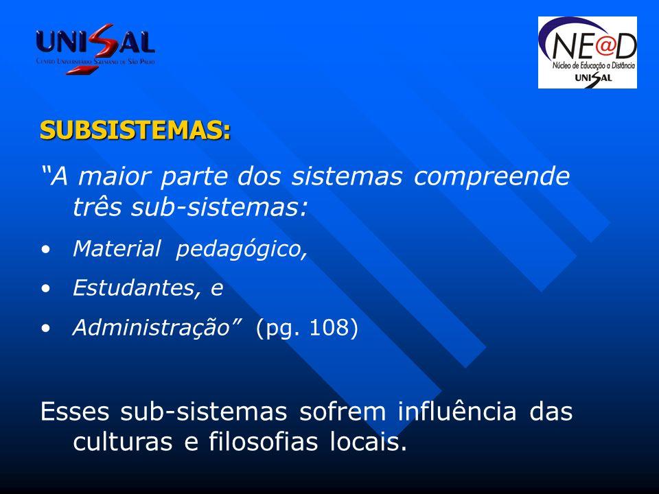 SUBSISTEMAS: A maior parte dos sistemas compreende três sub-sistemas: Material pedagógico, Estudantes, e Administração (pg.