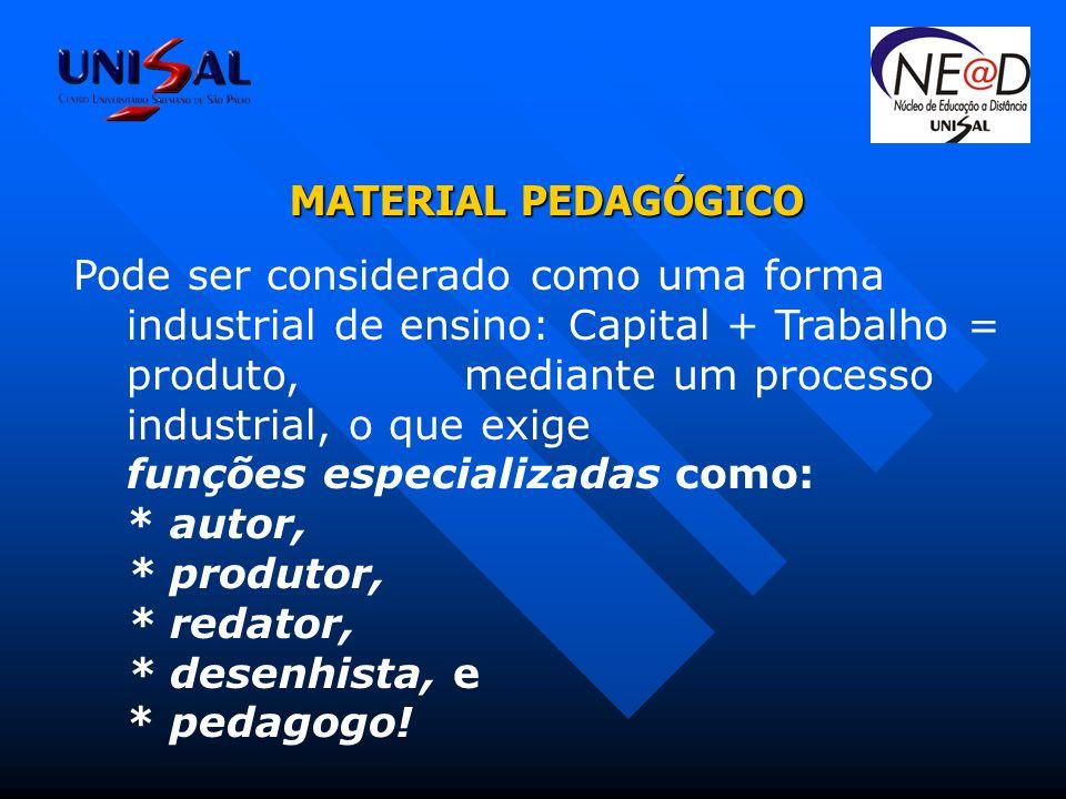 MATERIAL PEDAGÓGICO Pode ser considerado como uma forma industrial de ensino: Capital + Trabalho = produto, mediante um processo industrial, o que exige funções especializadas como: * autor, * produtor, * redator, * desenhista, e * pedagogo!