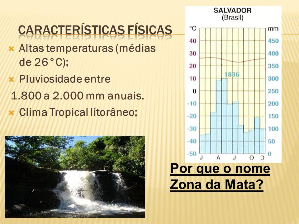Altas temperaturas (médias de 26°C); Pluviosidade entre 1.800 a 2.000 mm anuais. Clima Tropical litorâneo; Por que o nome Zona da Mata?