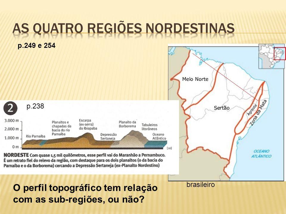 ocupa 18% do território brasileiro O perfil topográfico tem relação com as sub-regiões, ou não? p.249 e 254 p.238