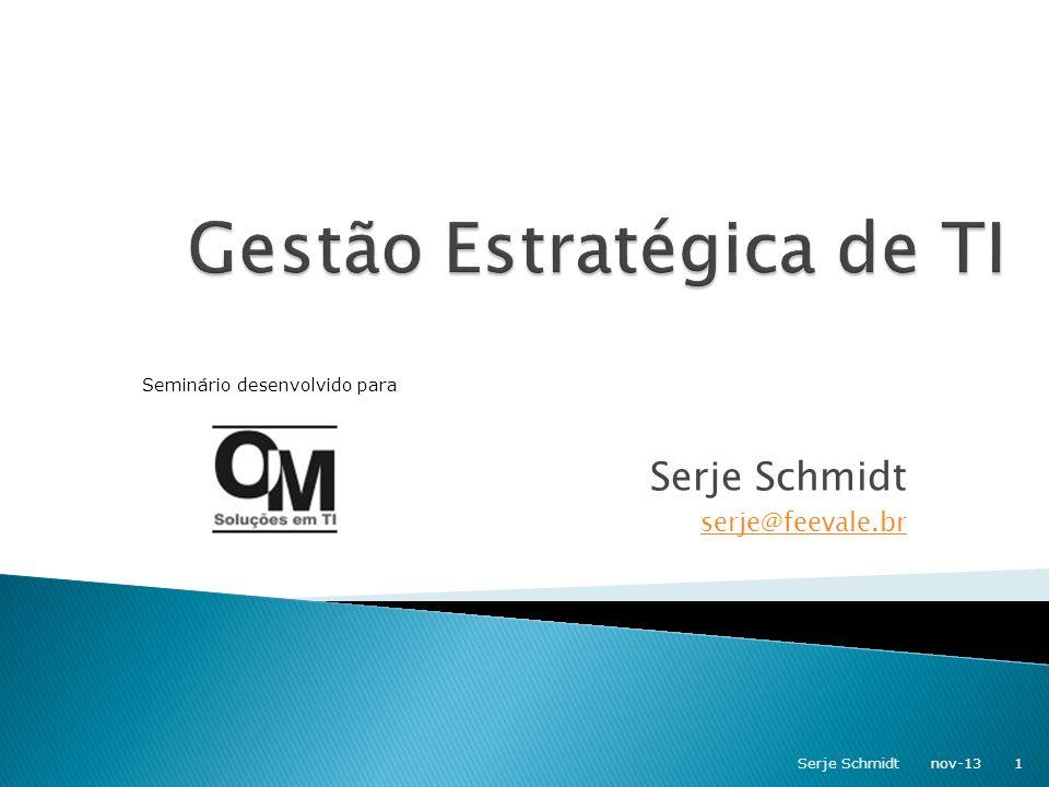Estratégia de Crescimento Padronização de processos controle de novas unidades de negócio (gestão por processos + ERP + WAN) Vendas online (Internet) em novos mercados (E- Commerce + ERP + competência logística) Desenvolvimento de novos produtos Integração com distribuidores (ERP + EDI + competência logística) nov-1322Serje Schmidt