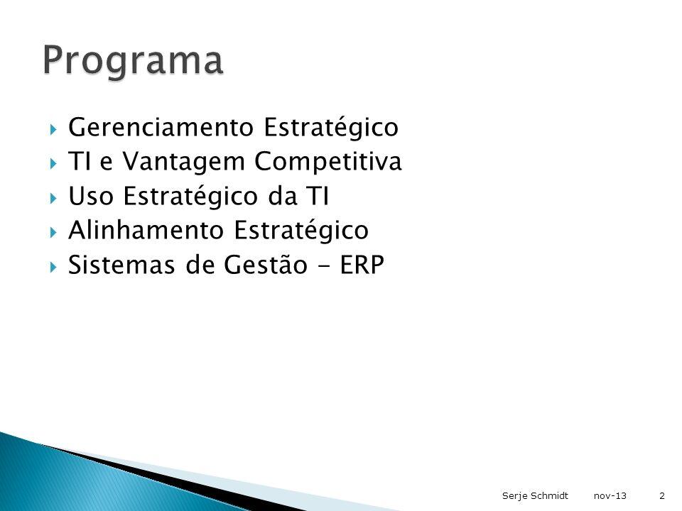Estratégia de TI Análise processos de negócio Desenho (próprio) Desenho (próprio) Implementação (própria) Implementação (própria) Desenho (terceirizado) Desenho (terceirizado) Aquisição e configuração ERP Implementação (terceirizada) Implementação (terceirizada) Implementação ERP Estratégia do Negócio Estratégia das Áreas de Negócio Definição de hardware e infra-estrutura de rede nov-133Serje Schmidt