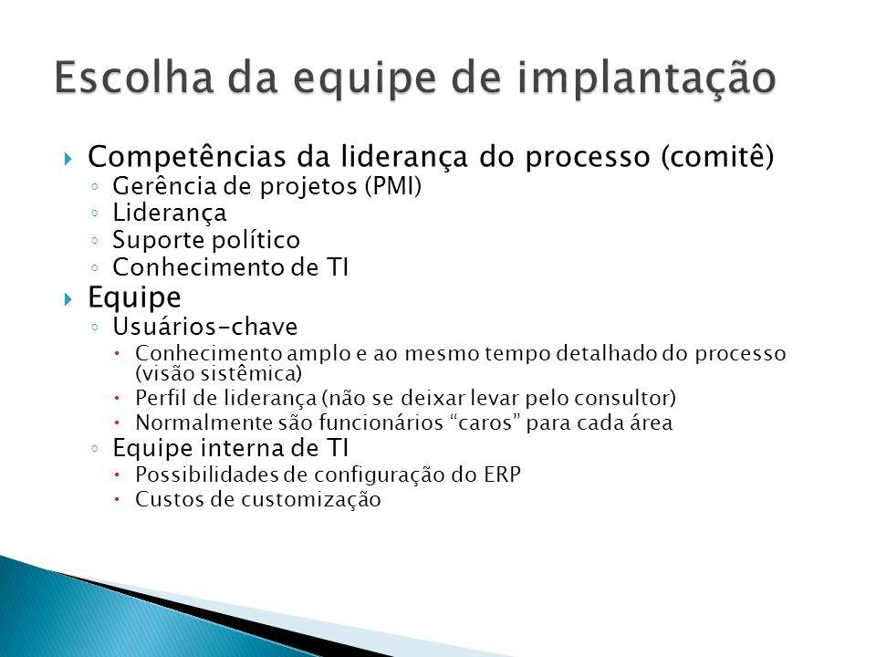 Competências da liderança do processo (comitê) Gerência de projetos (PMI) Liderança Suporte político Conhecimento de TI Equipe Usuários-chave Conhecim