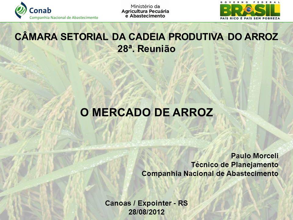 O MERCADO DE ARROZ Paulo Morceli Técnico de Planejamento Companhia Nacional de Abastecimento Canoas / Expointer - RS 28/08/2012 CÂMARA SETORIAL DA CAD
