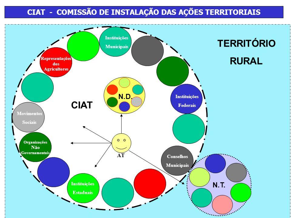 TERRITÓRIO RURAL CIAT - COMISSÃO DE INSTALAÇÃO DAS AÇÕES TERRITORIAIS CIAT N.T. Instituições Municipais Representações dos Agricultores Conselhos Muni