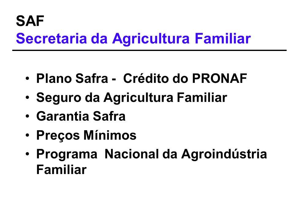 SAF Secretaria da Agricultura Familiar Plano Safra - Crédito do PRONAF Seguro da Agricultura Familiar Garantia Safra Preços Mínimos Programa Nacional