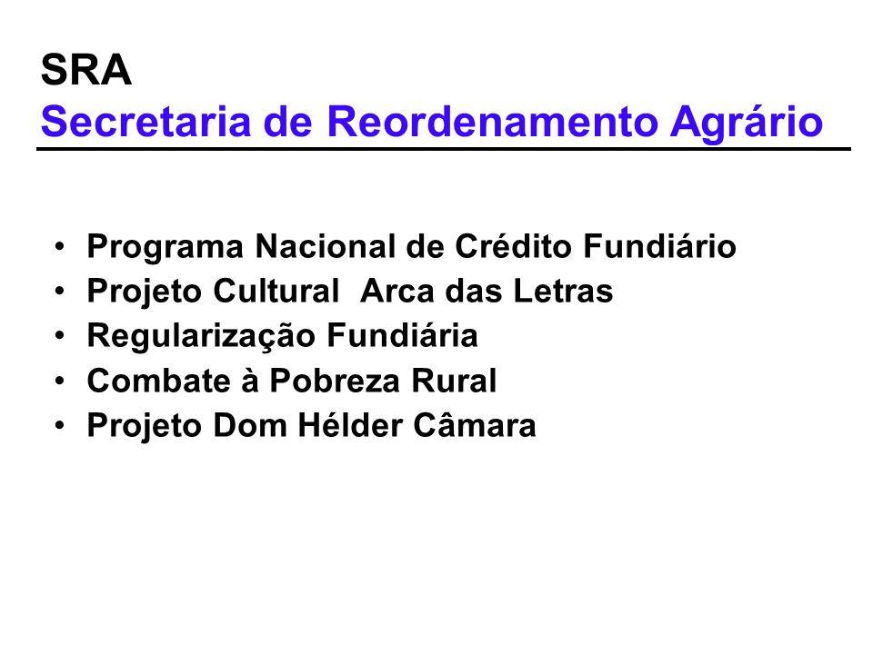 SRA Secretaria de Reordenamento Agrário Programa Nacional de Crédito Fundiário Projeto Cultural Arca das Letras Regularização Fundiária Combate à Pobr