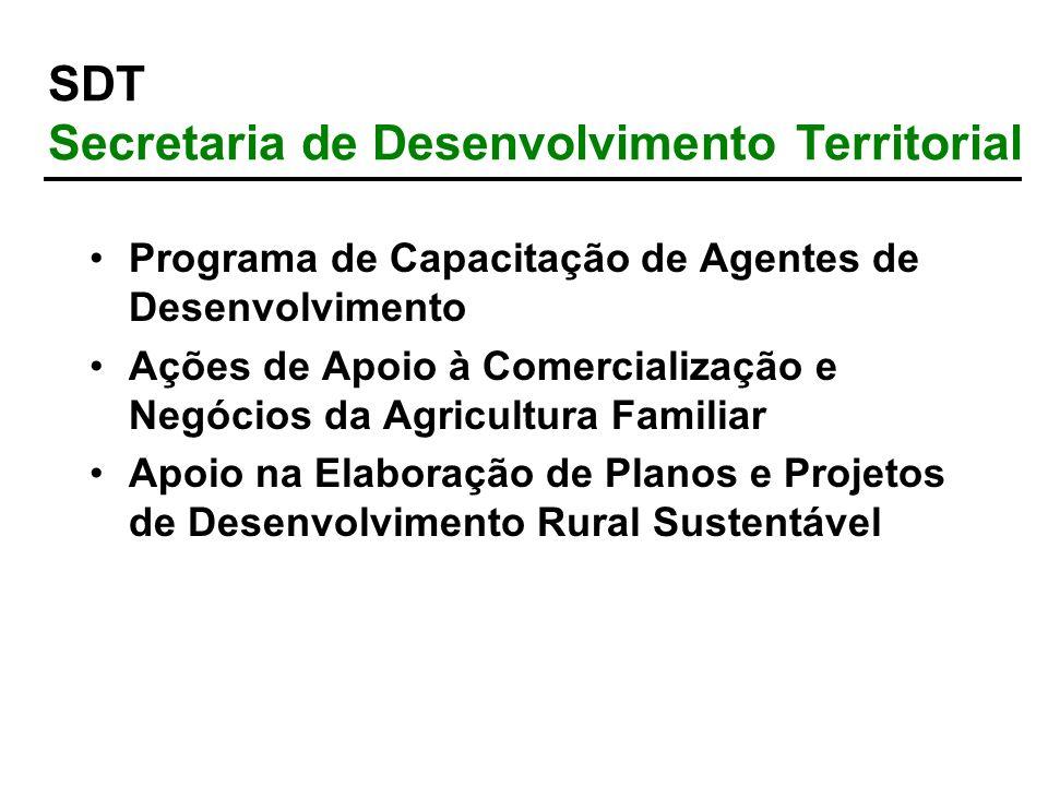 Programa de Capacitação de Agentes de Desenvolvimento Ações de Apoio à Comercialização e Negócios da Agricultura Familiar Apoio na Elaboração de Plano