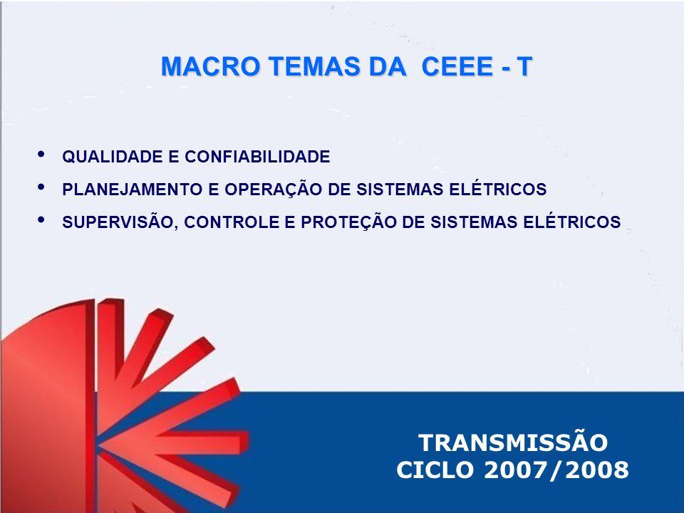 TRANSMISSÃO CICLO 2007/2008 QUALIDADE E CONFIABILIDADE PLANEJAMENTO E OPERAÇÃO DE SISTEMAS ELÉTRICOS SUPERVISÃO, CONTROLE E PROTEÇÃO DE SISTEMAS ELÉTR