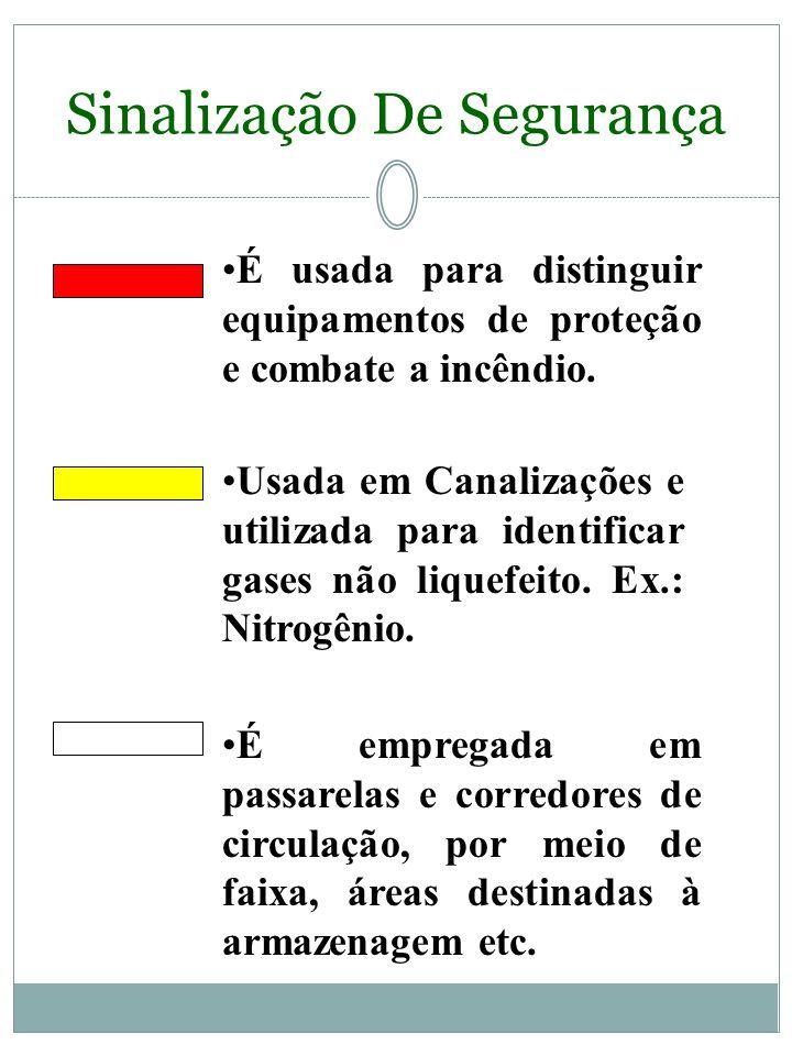 Sinalização De Segurança A sinalização de segurança tem por objetivo identificar, através das cores, os equipamentos de segurança, delimitações de áre