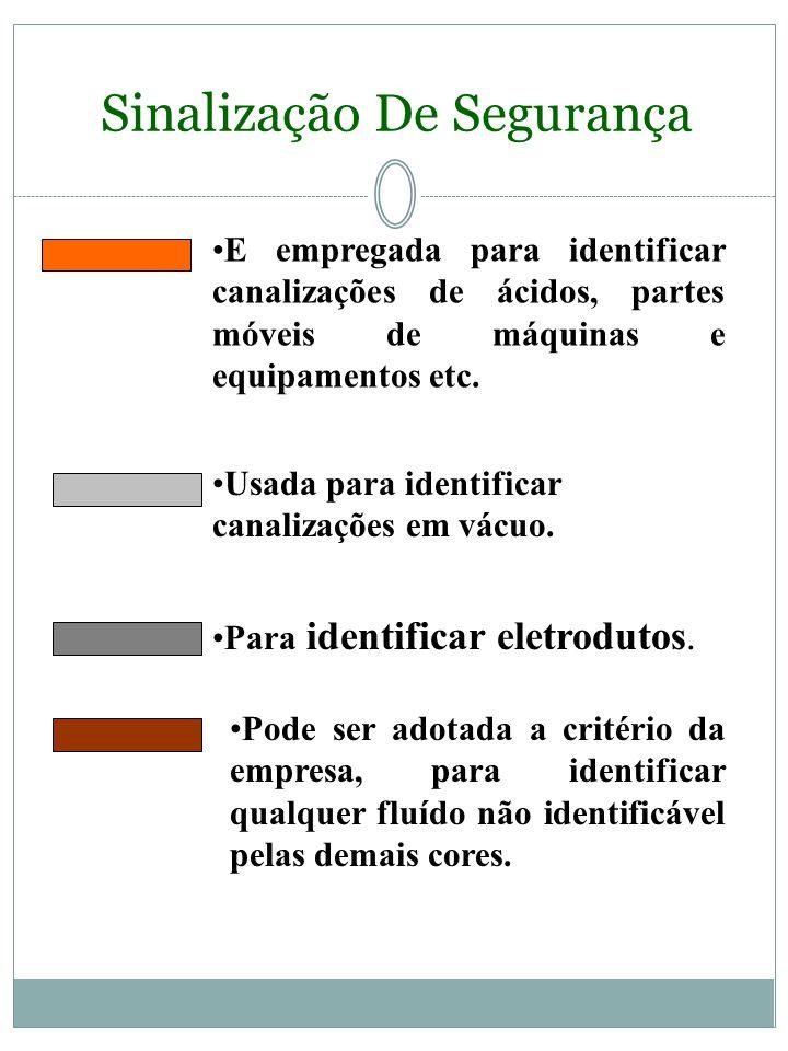 Sinalização De Segurança É empregada para indicar as canalizações de inflamáveis e combustíveis de alta viscosidade. Ex.: óleo lubrificante etc. É emp