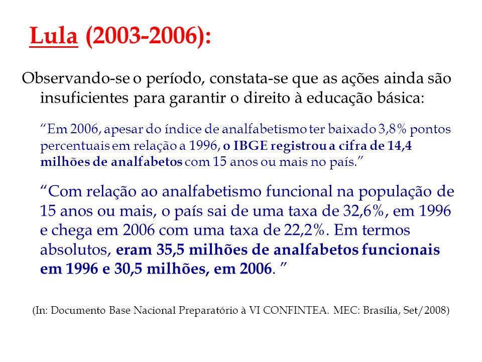 Lula (2003-2006): Observando-se o período, constata-se que as ações ainda são insuficientes para garantir o direito à educação básica: Em 2006, apesar