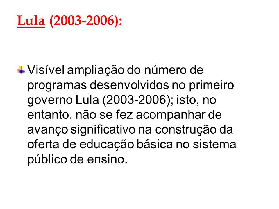 Lula (2003-2006): Visível ampliação do número de programas desenvolvidos no primeiro governo Lula (2003-2006); isto, no entanto, não se fez acompanhar