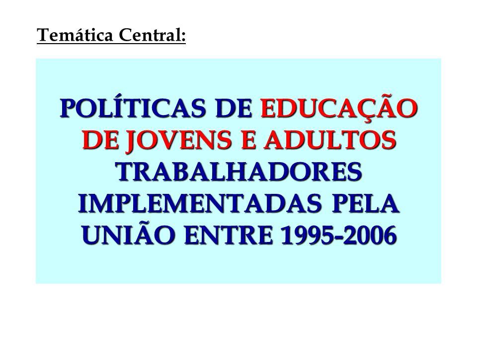 POLÍTICAS DE EDUCAÇÃO DE JOVENS E ADULTOS TRABALHADORES IMPLEMENTADAS PELA UNIÃO ENTRE 1995-2006 Temática Central:
