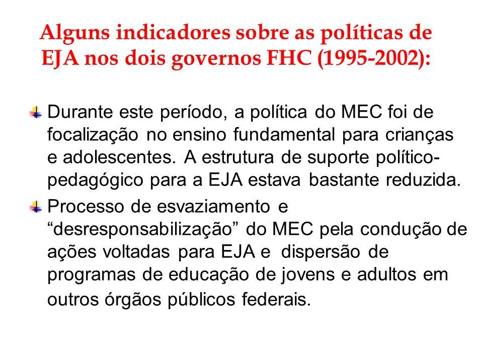 Alguns indicadores sobre as políticas de EJA nos dois governos FHC (1995-2002): Durante este período, a política do MEC foi de focalização no ensino f