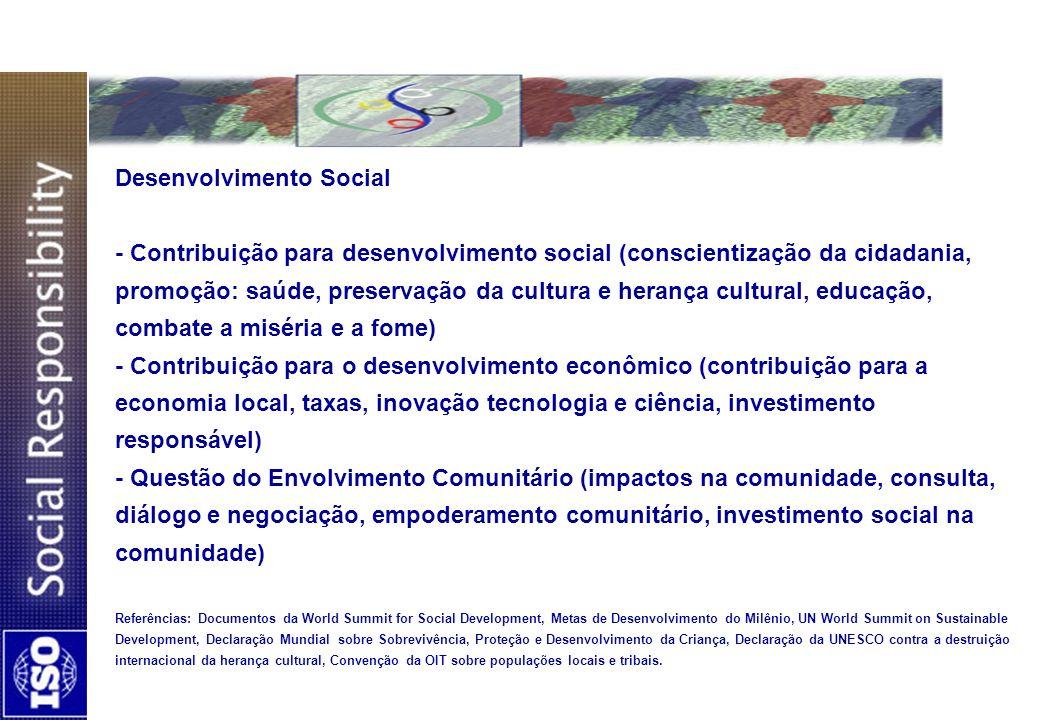 Desenvolvimento Social - Contribuição para desenvolvimento social (conscientização da cidadania, promoção: saúde, preservação da cultura e herança cul