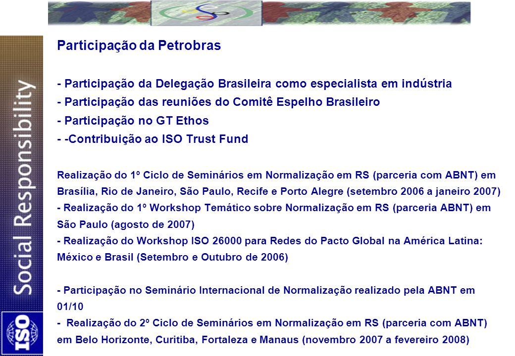 Participação da Petrobras - Participação da Delegação Brasileira como especialista em indústria - Participação das reuniões do Comitê Espelho Brasilei