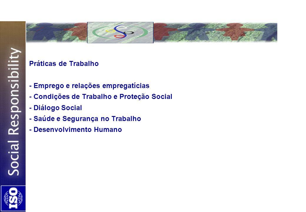 Práticas de Trabalho - Emprego e relações empregatícias - Condições de Trabalho e Proteção Social - Diálogo Social - Saúde e Segurança no Trabalho - D