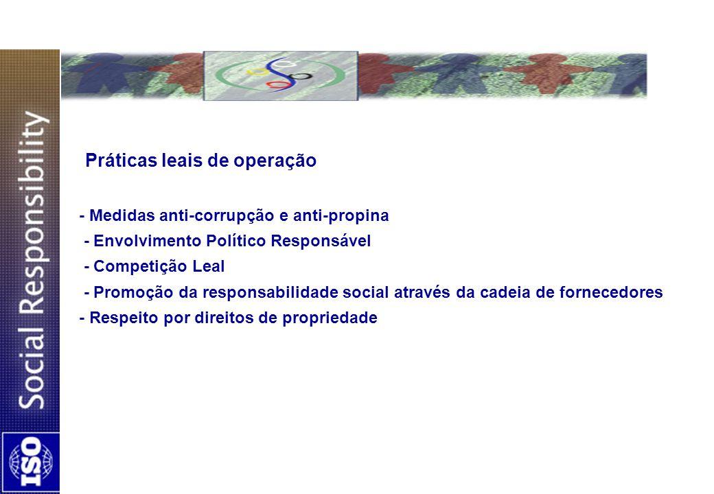 Práticas leais de operação - Medidas anti-corrupção e anti-propina - Envolvimento Político Responsável - Competição Leal - Promoção da responsabilidad