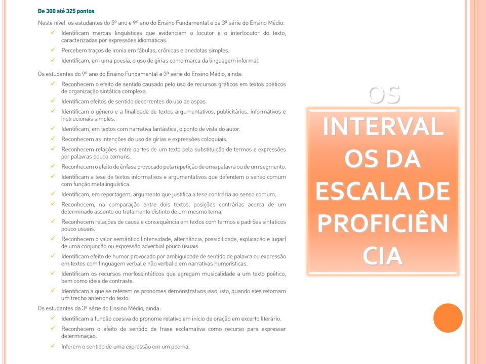 OS INTERVAL OS DA ESCALA DE PROFICIÊN CIA