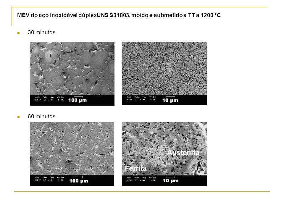 MEV do aço inoxidável dúplexUNS S31803, moído e submetido a TT a 1200 °C 30 minutos. 60 minutos. Austenita Ferrita