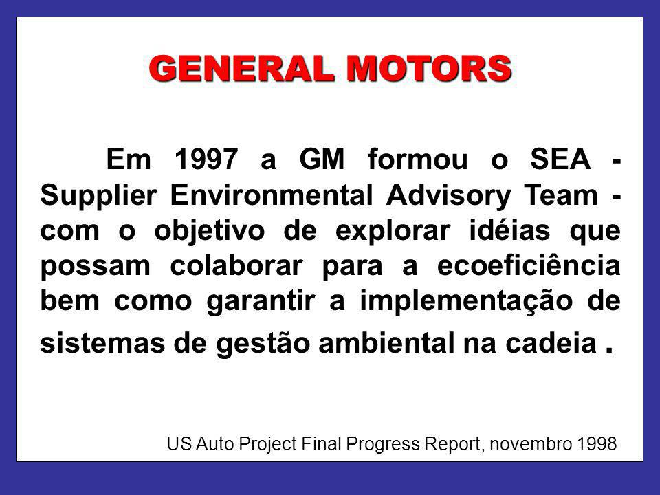 GENERAL MOTORS Em 1997 a GM formou o SEA - Supplier Environmental Advisory Team - com o objetivo de explorar idéias que possam colaborar para a ecoefi