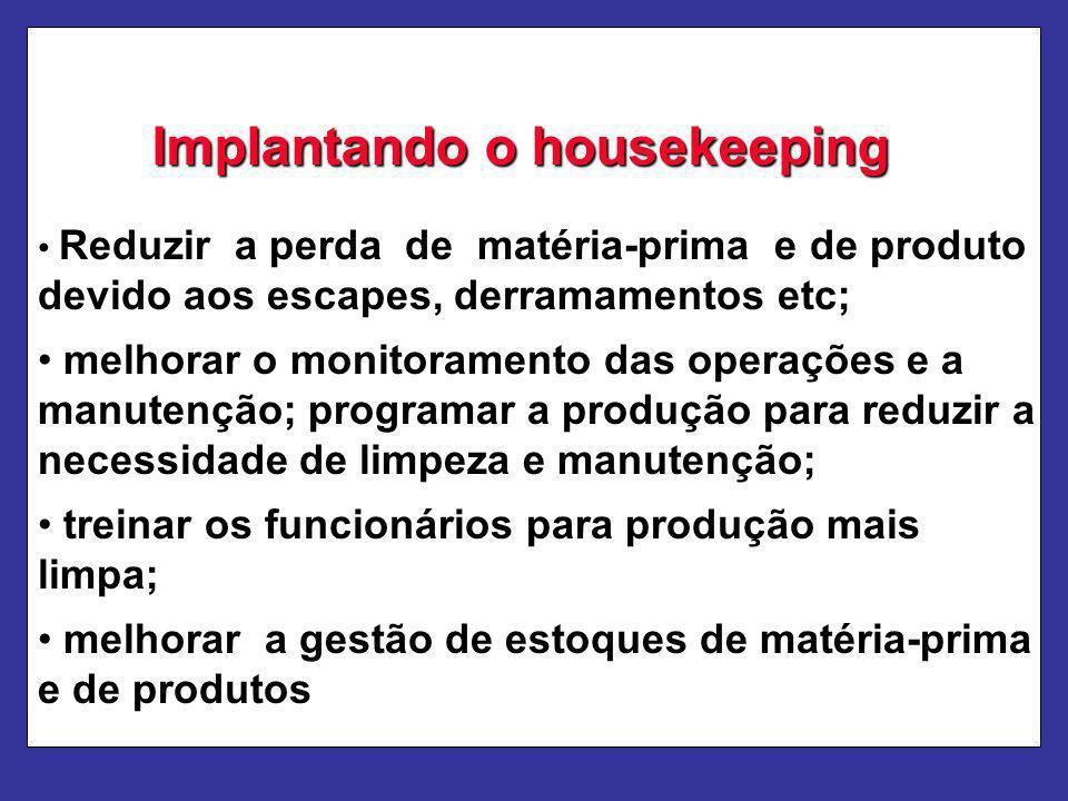 Implantando o housekeeping Reduzir a perda de matéria-prima e de produto devido aos escapes, derramamentos etc; melhorar o monitoramento das operações