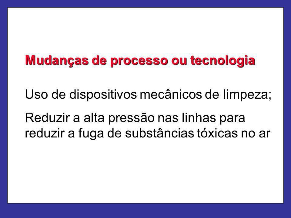 Mudanças de processo ou tecnologia Uso de dispositivos mecânicos de limpeza; Reduzir a alta pressão nas linhas para reduzir a fuga de substâncias tóxi