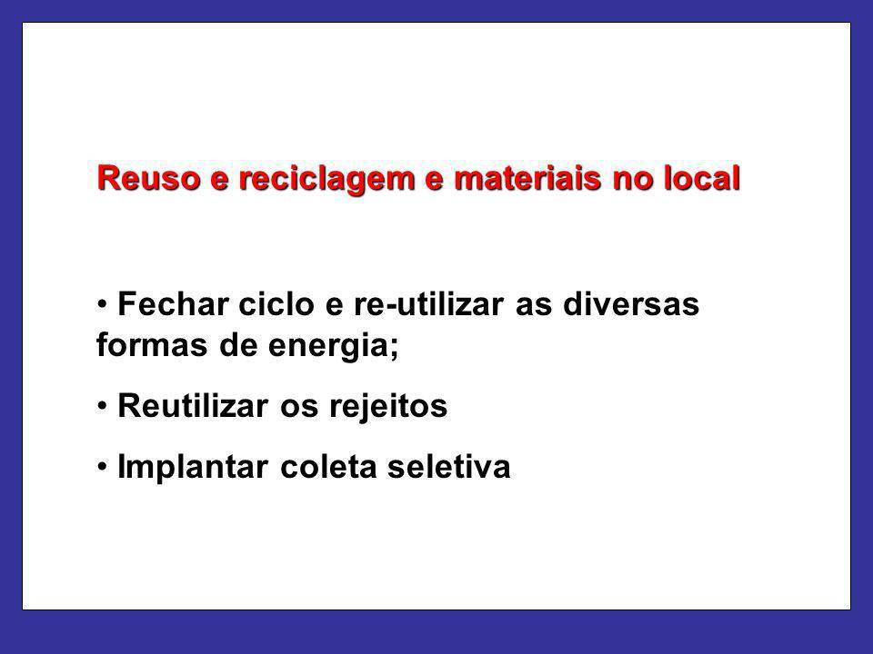 Reuso e reciclagem e materiais no local Fechar ciclo e re-utilizar as diversas formas de energia; Reutilizar os rejeitos Implantar coleta seletiva