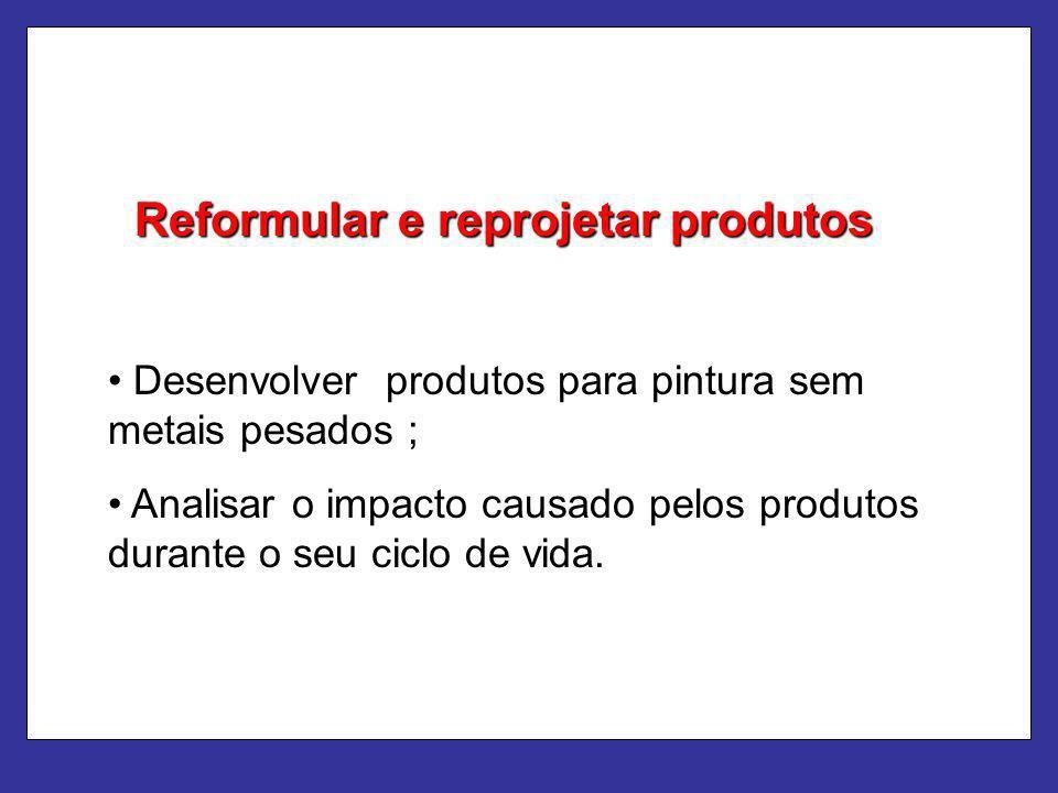Reformular e reprojetar produtos Desenvolver produtos para pintura sem metais pesados ; Analisar o impacto causado pelos produtos durante o seu ciclo
