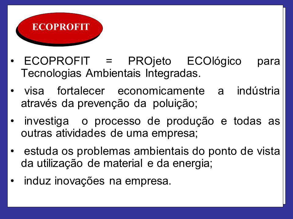 ECOPROFIT ECOPROFIT = PROjeto ECOlógico para Tecnologias Ambientais Integradas. visa fortalecer economicamente a indústria através da prevenção da pol