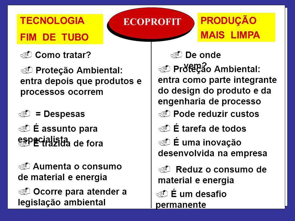 ECOPROFIT. Como tratar?. De onde vem?. Proteção Ambiental: entra depois que produtos e processos ocorrem. Proteção Ambiental: entra como parte integra