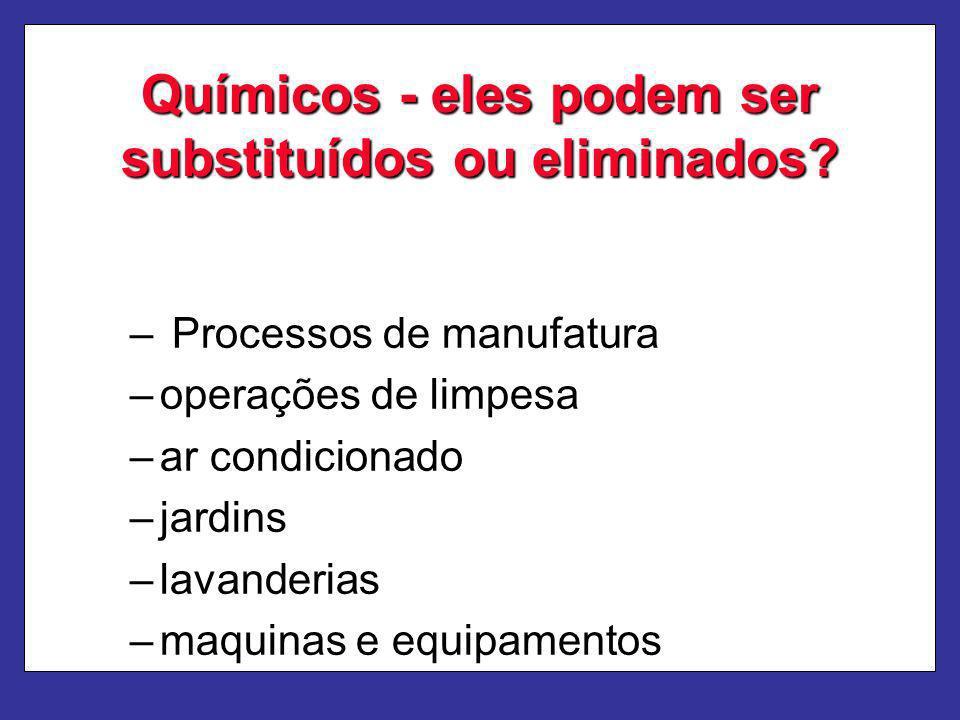 Químicos - eles podem ser substituídos ou eliminados? – Processos de manufatura –operações de limpesa –ar condicionado –jardins –lavanderias –maquinas