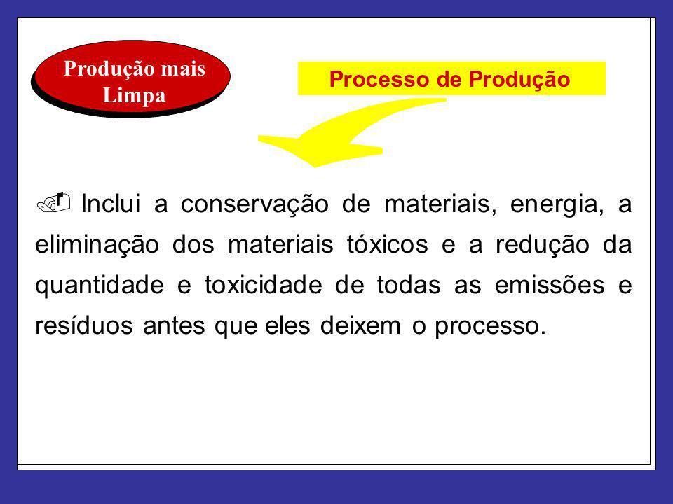 Produção mais Limpa. Inclui a conservação de materiais, energia, a eliminação dos materiais tóxicos e a redução da quantidade e toxicidade de todas as