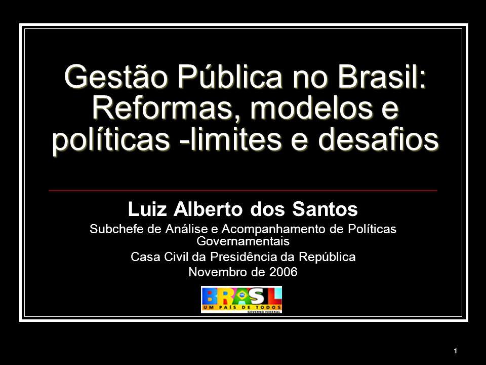 1 Gestão Pública no Brasil: Reformas, modelos e políticas -limites e desafios Luiz Alberto dos Santos Subchefe de Análise e Acompanhamento de Política