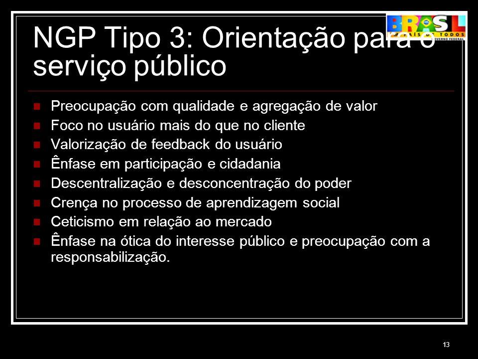 13 NGP Tipo 3: Orientação para o serviço público Preocupação com qualidade e agregação de valor Foco no usuário mais do que no cliente Valorização de
