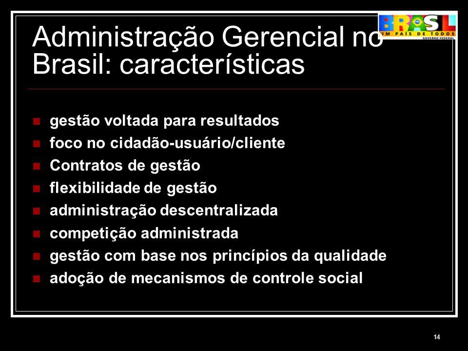 14 Administração Gerencial no Brasil: características gestão voltada para resultados foco no cidadão-usuário/cliente Contratos de gestão flexibilidade