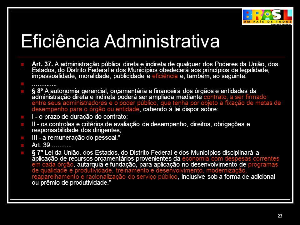 23 Eficiência Administrativa Art. 37. A administração pública direta e indireta de qualquer dos Poderes da União, dos Estados, do Distrito Federal e d