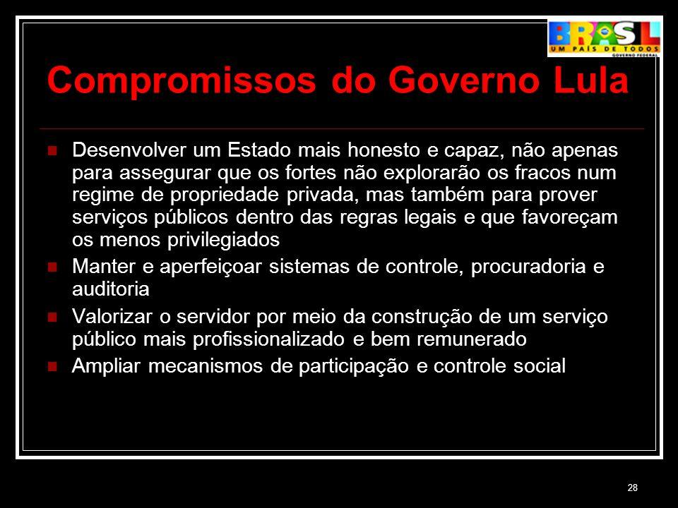 28 Compromissos do Governo Lula Desenvolver um Estado mais honesto e capaz, não apenas para assegurar que os fortes não explorarão os fracos num regim