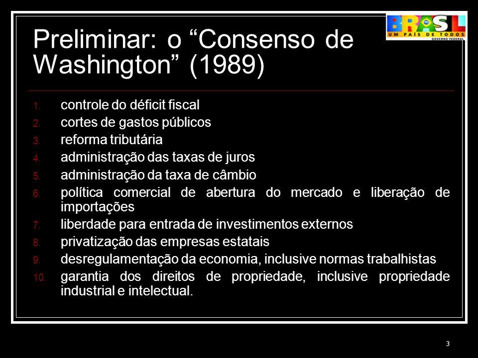 3 Preliminar: o Consenso de Washington (1989) 1. controle do déficit fiscal 2. cortes de gastos públicos 3. reforma tributária 4. administração das ta