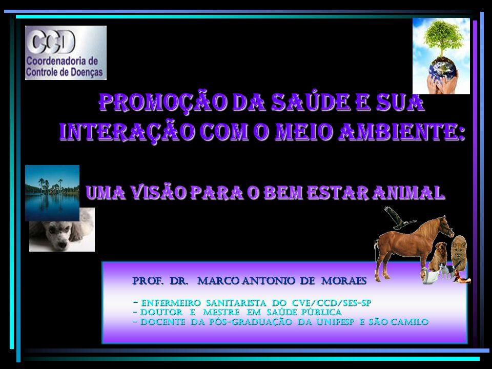 Promoção da Saúde e sua interação com o Meio Ambiente: Uma visão para o bem estar animal Prof. Dr. Marco Antonio de Moraes - Enfermeiro Sanitarista do