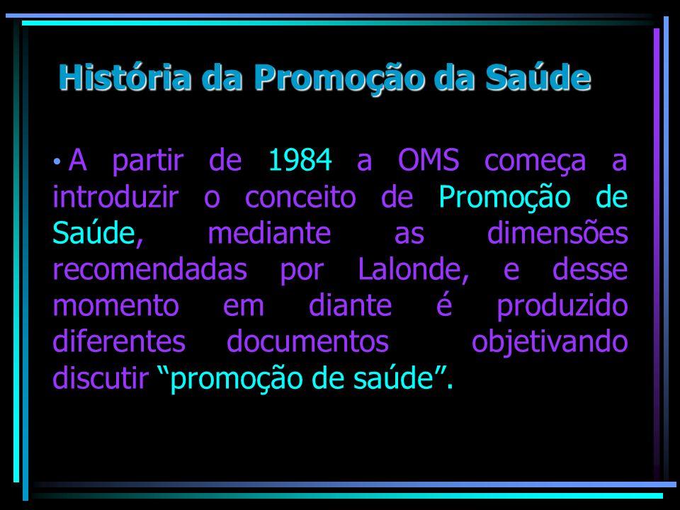 A partir de 1984 a OMS começa a introduzir o conceito de Promoção de Saúde, mediante as dimensões recomendadas por Lalonde, e desse momento em diante
