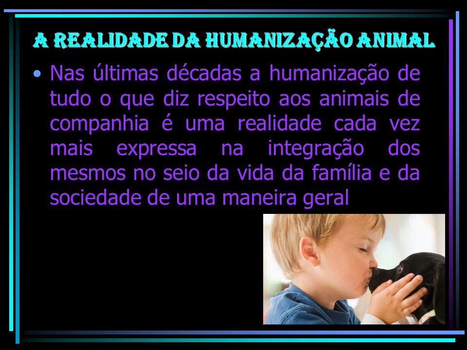 A realidade da Humanização Animal Nas últimas décadas a humanização de tudo o que diz respeito aos animais de companhia é uma realidade cada vez mais