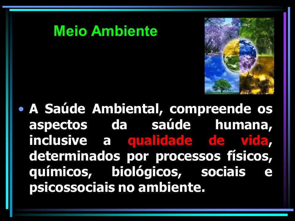 A Saúde Ambiental, compreende os aspectos da saúde humana, inclusive a qualidade de vida, determinados por processos físicos, químicos, biológicos, so