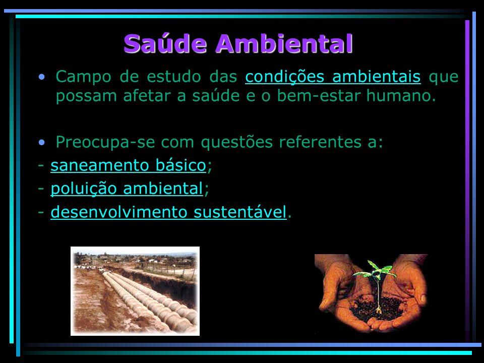 Saúde Ambiental Campo de estudo das condições ambientais que possam afetar a saúde e o bem-estar humano.condições ambientais Preocupa-se com questões