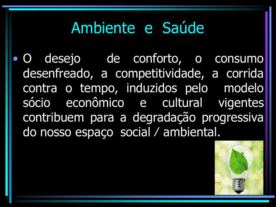 Ambiente e Saúde O desejo de conforto, o consumo desenfreado, a competitividade, a corrida contra o tempo, induzidos pelo modelo sócio econômico e cul