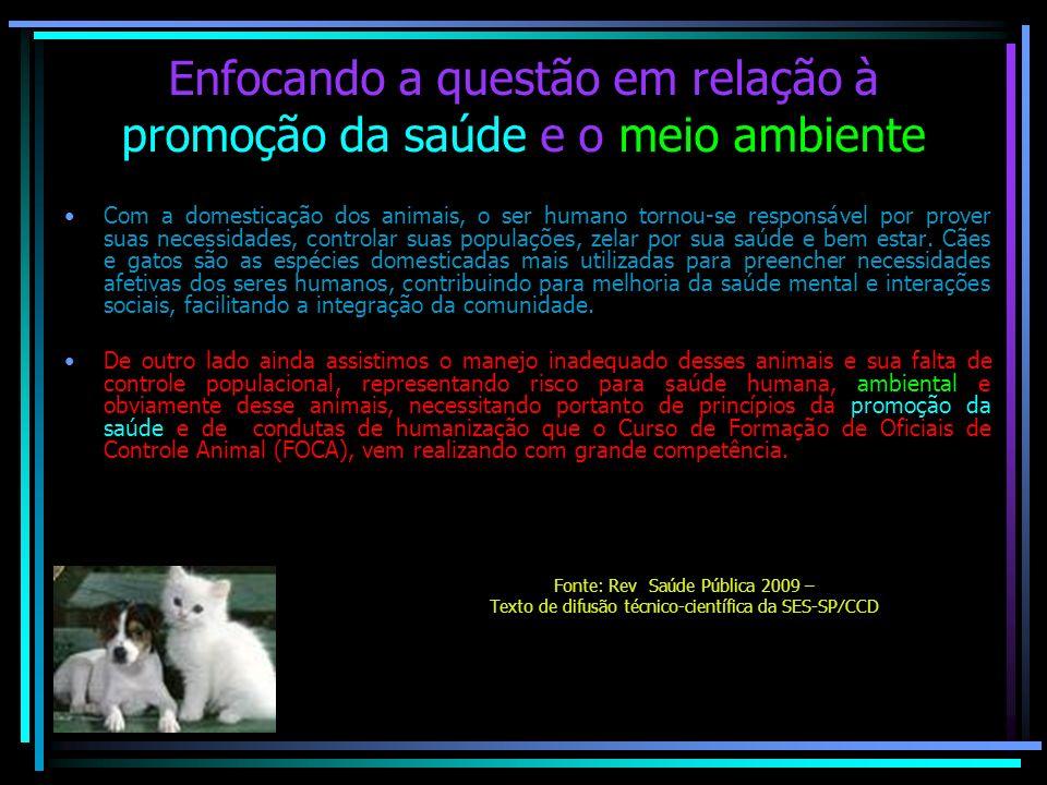 Enfocando a questão em relação à promoção da saúde e o meio ambiente Com a domesticação dos animais, o ser humano tornou-se responsável por prover sua